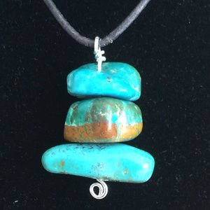 """Turquoise Nugget """"Trio"""" on Leather, Pewter Toggle"""